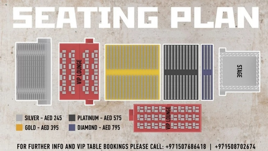 Garou Live in Dubai - Seating Plan